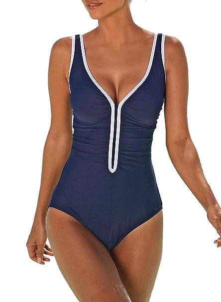 96e7f0e386d6 Aleumdr Mujer Bañador Deportivo Traje de Natación Cuello V Traje de Baño de  Una Pieza para Mujer Size S-XXL