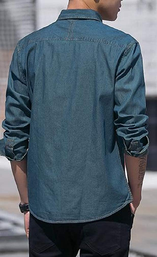 SportsX Mens Long Sleeve Square Collar Solid Colored Silm Fit Autumn Denim Shirt