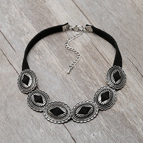 Vintage Ethnic Boho Statement Choker Necklace Adjustable Black Collar Alloy Pendant Necklace for Women by Pearly Wonders (Image #2)