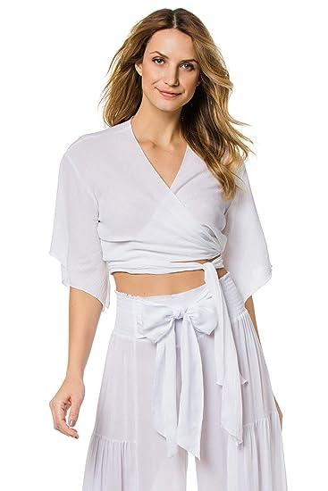 0147f5c3b1 Elan International Women's Wovens Wrap Crop Top Blouse Swim Cover Up White  M at Amazon Women's Clothing store:
