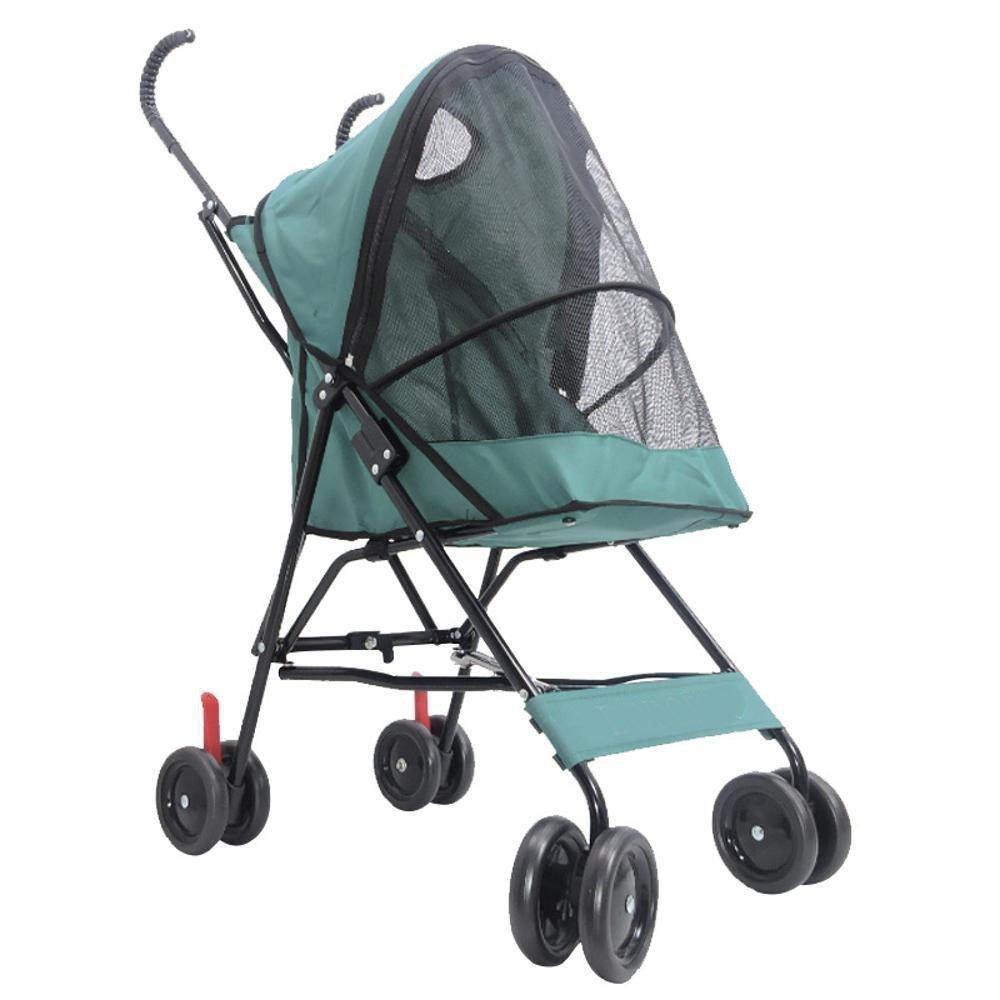 A Daeou Pet StrollerDog cart four-wheel outdoor folding trolley light trolley Supplies