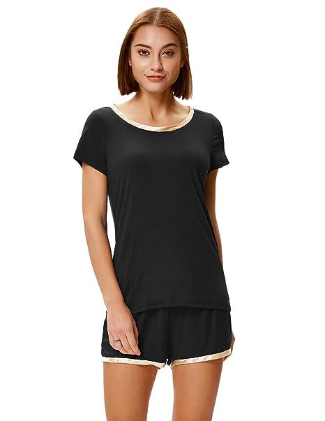 e3aa832d24 Zexxxy Women Shorts Pajama Set Soft Cotton Nightwear Short Sleeve Two Piece  PJs Black S