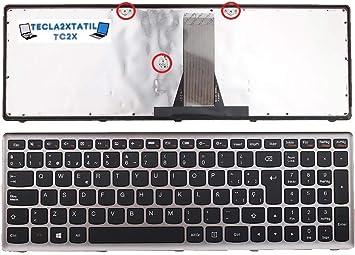 Teclado Compatible DE Y para PORTATIL IBM Lenovo IdeaPad Z510 (20287) EN ESPAÑOL Marco Plata Gris Ver Medidas EN Foto