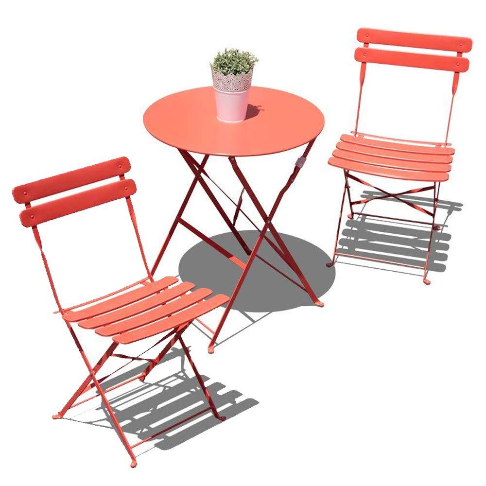 COBANA Steel Patio Bistro Set, Foldable Furniture,3 Piece Pub Set of Patio Table and Chairs,Reddish Orange