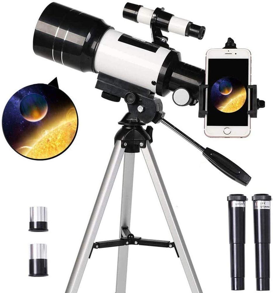 DSHUJC Telescopio Refractor astronómico de 70 mm Telescopio monocular con trípode y Soporte para teléfono, telescopio de Viaje portátil para niños, Adultos, principian