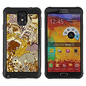 WAWU Rugged Armor Slim Protection Case Cover Shell -- gold floral pattern yellow mustard vintage -- Samsung Note 3