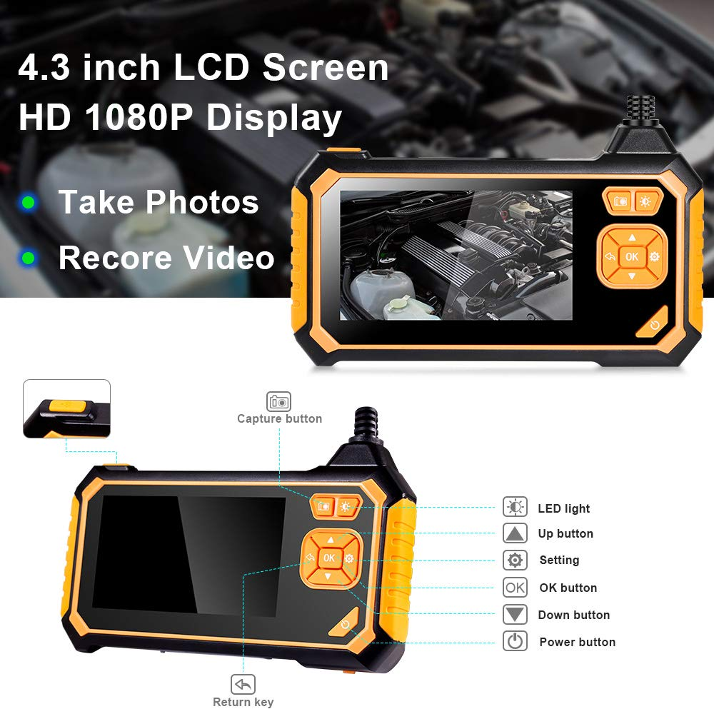 Engine Checking,Sewer Drain Inspection Industrial Endoscope Borescope Camera 1080P HD Video Inspection Camera with IPS Screen 180 Wide Viewing Angle,8 Bright LED Lights,Car,Air Conditioner