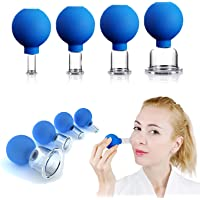 4 PCS Glass Facial Cupping Set | Silicone Vacuum Suction | Cupping Massage Therapy | A Kit For Anti Cellulite, Anti…