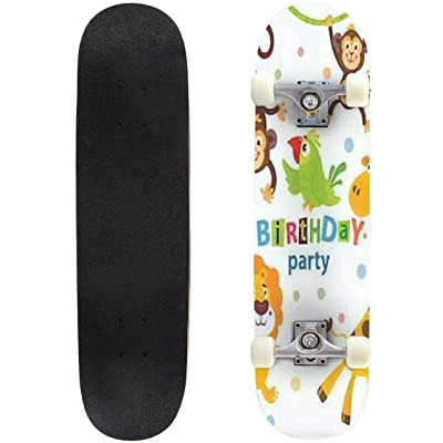 Classic Concave Skateboard Set of Cute African Animals for Happy Birthday Design Lion Elephant Longboard Maple Deck Extreme Sports and Outdoors Double Kick Trick for Beginners and Professionals : Sports & Outdoors