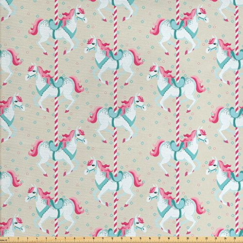 Woven Polyester 108' Round Tablecloth - Ambesonne Toy Horse Fabric by the Yard, Merry Go Round Amusement Park Carousel Toy Ride Roundabout Children Park, Decorative Fabric for Upholstery and Home Accents, Beige Seafoam Pink