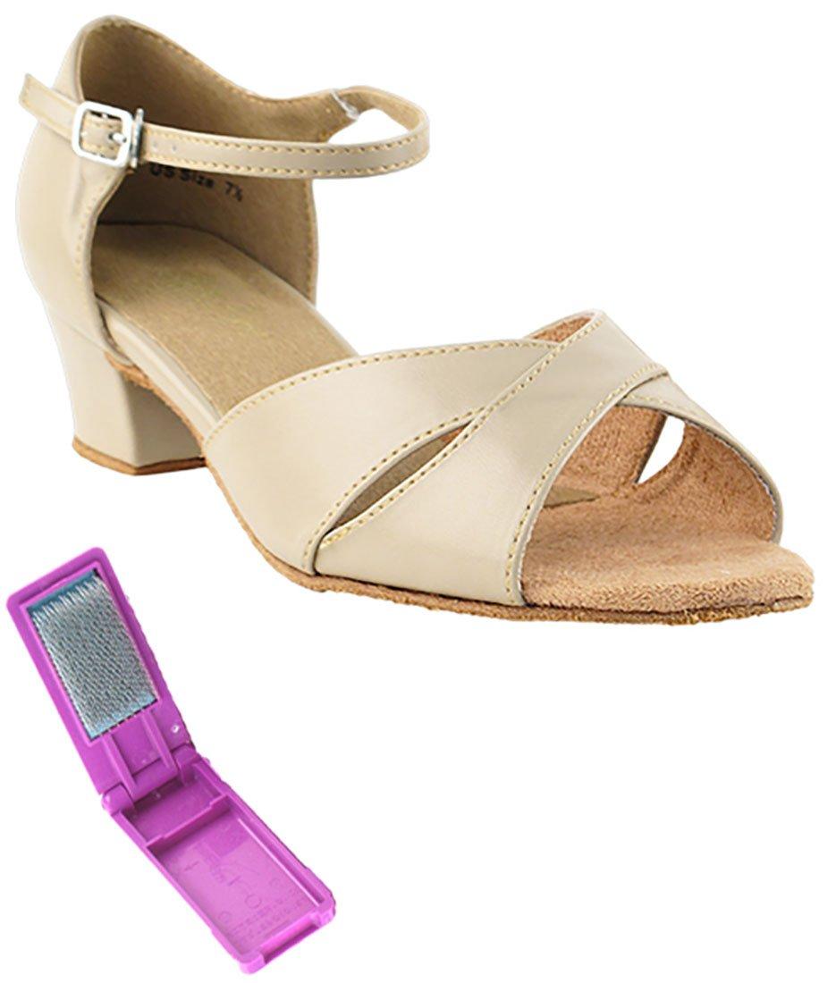 Very Fine Ballroom Latin Tango Salsa Dance Shoes for Women 803 1.5-inch Heel + Foldable Brush Bundle - Tan - 7
