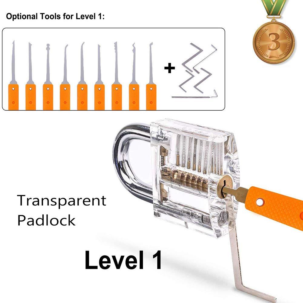Loboo Idea Juego de ganz/úas de entrenamiento con 3 cerraduras de entrenamiento transparentes para cerrajeros principiantes y profesionales