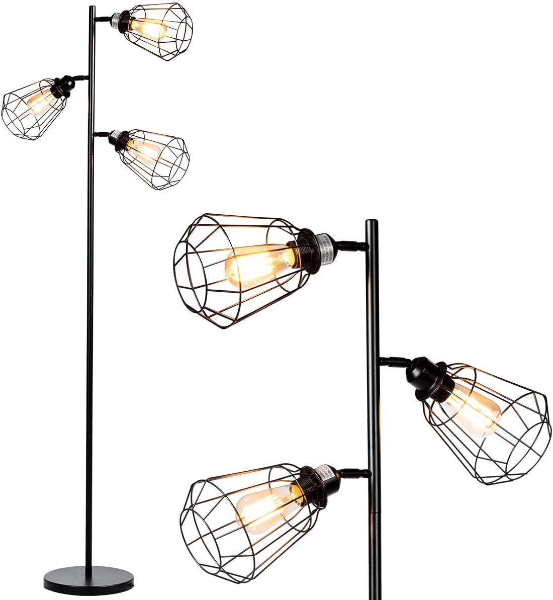 Tangkula 65 Floor Lamp, 3-Light Tall Tree Lamp, Industrial Rustic Floor Lamp with 3 Light Bulbs Adjustable Lampshade, Modern Metal Standing Lamp for Reading Bedroom Living Room Office D cor, Black