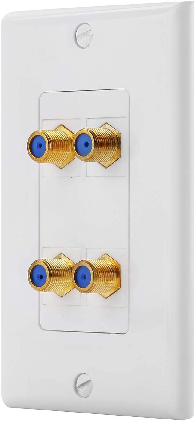 4 Port Cat6 Ethernet Female to Female Decorative Wall Plate in White
