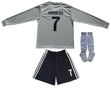huge discount 563ab 6c95f GamesDur 2018/2019 Cristiano Ronaldo #7 Away Long Sleeve Soccer Kids Jersey  & Short Set Youth Sizes