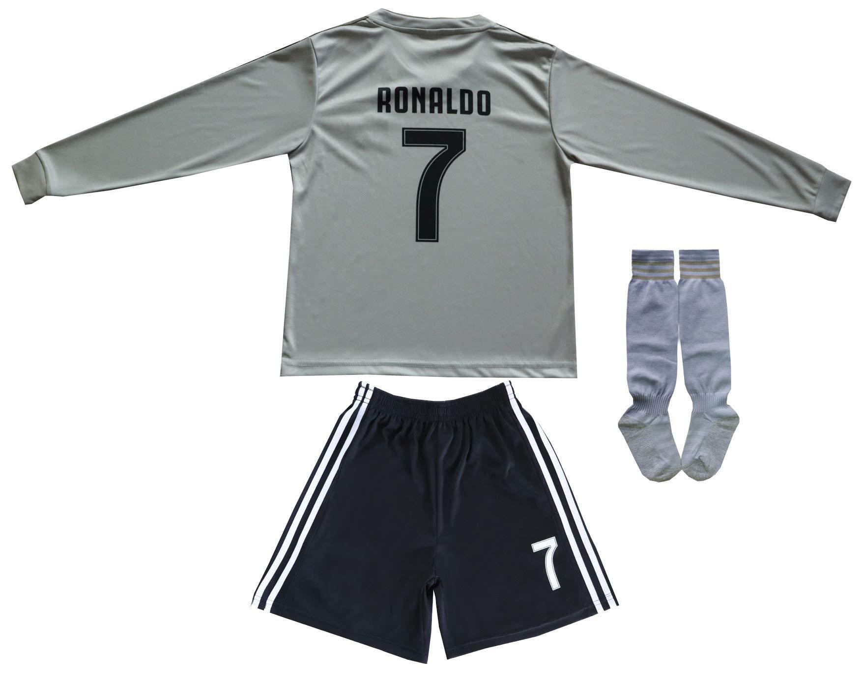 GamesDur 2018/2019 Cristiano Ronaldo #7 Away Long Sleeve Juventus Soccer Kids Jersey & Shorts Socks Set Youth Sizes (Juve), 6-7 Years