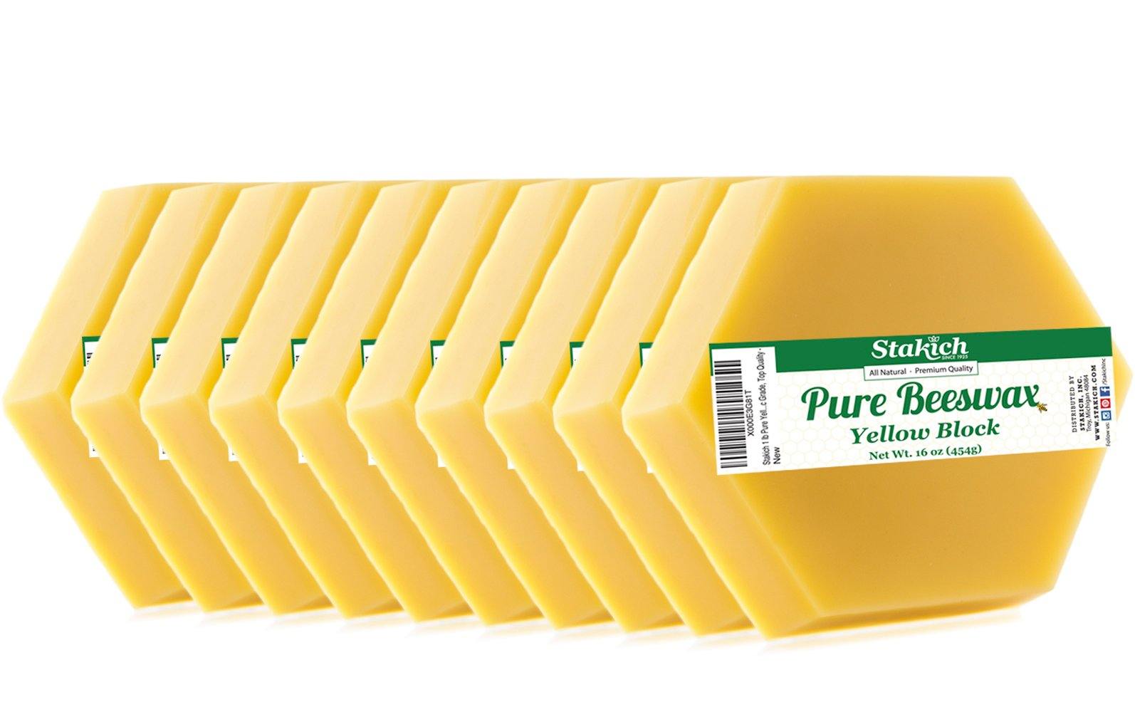 Stakich Yellow BEESWAX Blocks - 100% Pure, All Natural, Cosmetic Grade, Premium Quality - 10 lb (in 1 lb blocks)