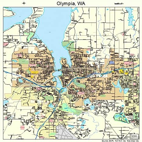 Amazon.com: Large Street & Road Map of Olympia, Washington WA