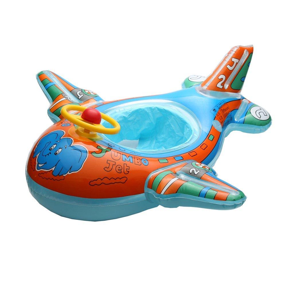 Baby Float, Botitu® Aerated Inflatable Swimming Floats for Babies Kids Infant Pool Float with Funny Airplane Design, Perfect for Swimming Learning Spring Float(blue)