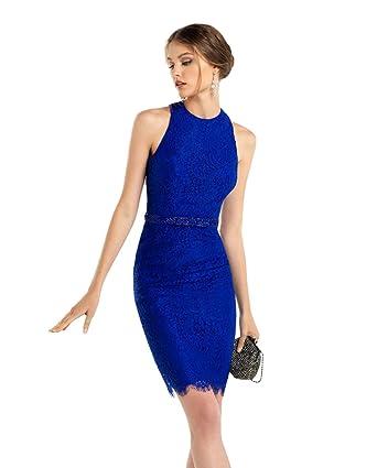 dressvip Knee Length Women Prom Dresses Blue Evening Dresses (Blue, 14)