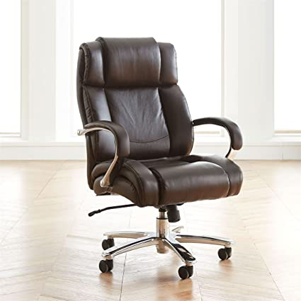 BrylaneHome Extra Wide Chrome Finish Office Chair (Brown,0)