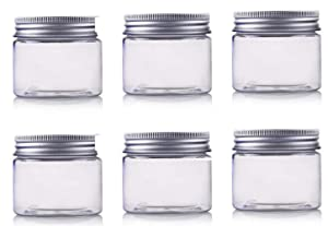 6Pcs 8 oz Clear Round Plastic Jars with Aluminium Lid - Empty Cosmetic Containers Bottle Case Pot for Storage Food Sample Lotion Facial Cream Mask Ointment Tea Pill