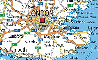 Map Of Uk Roads.United Kingdom Uk Road Wall Map Poster Clearly Shows