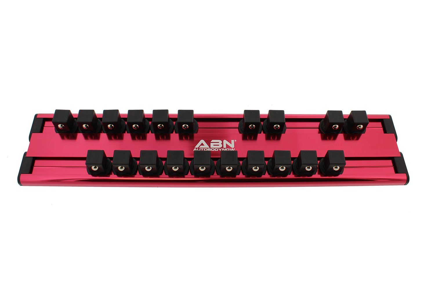 ABN Aluminum SAE Standard 1/2'' Inch Drive 20-Piece Socket Holder – Socket Rail and Clips for Tool Organization
