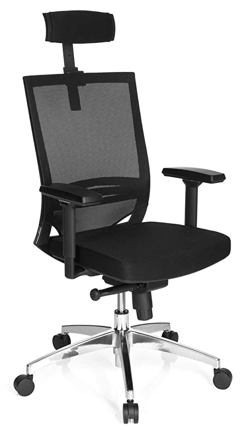 hjh OFFICE - 657260 PORTO MAX HIGH Silla de oficina, asiento tejido/respaldo en malla negro