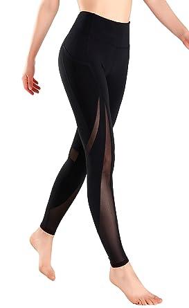 59867f71a4da59 MotoRun Active Women's Power Workout Leggings Mesh High Waist Pants Gym  Tights Full Length Black X