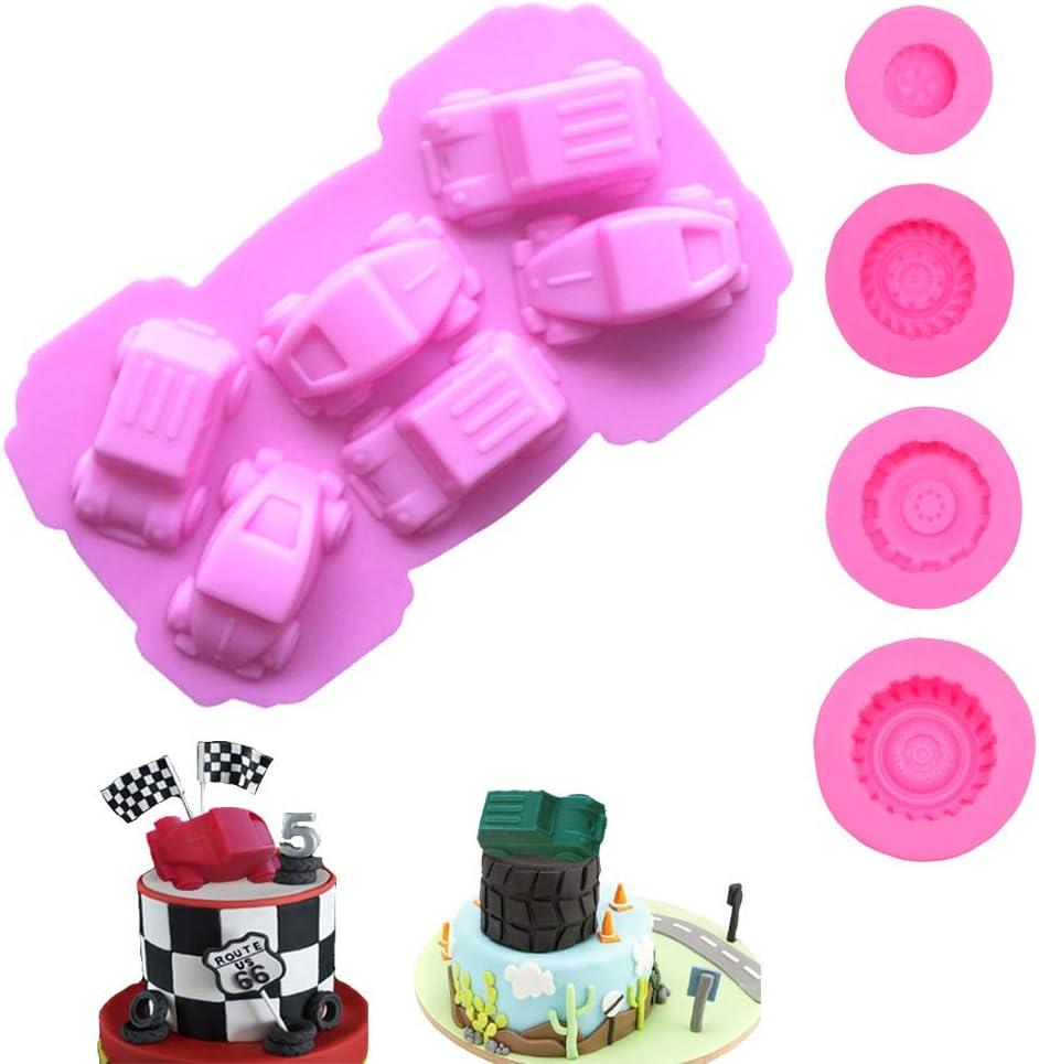 5Pcs/set Different Tire Wheel Carton Car Shape Boy Toy for Baking Fondant Birthday Theme Party Pudding Cake Bread Tart Soap Pie Drop Glue Decor Silicone Mold Tool