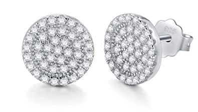 Sterling Silver Halo Style Round Cut Cubic Zirconia Earrings