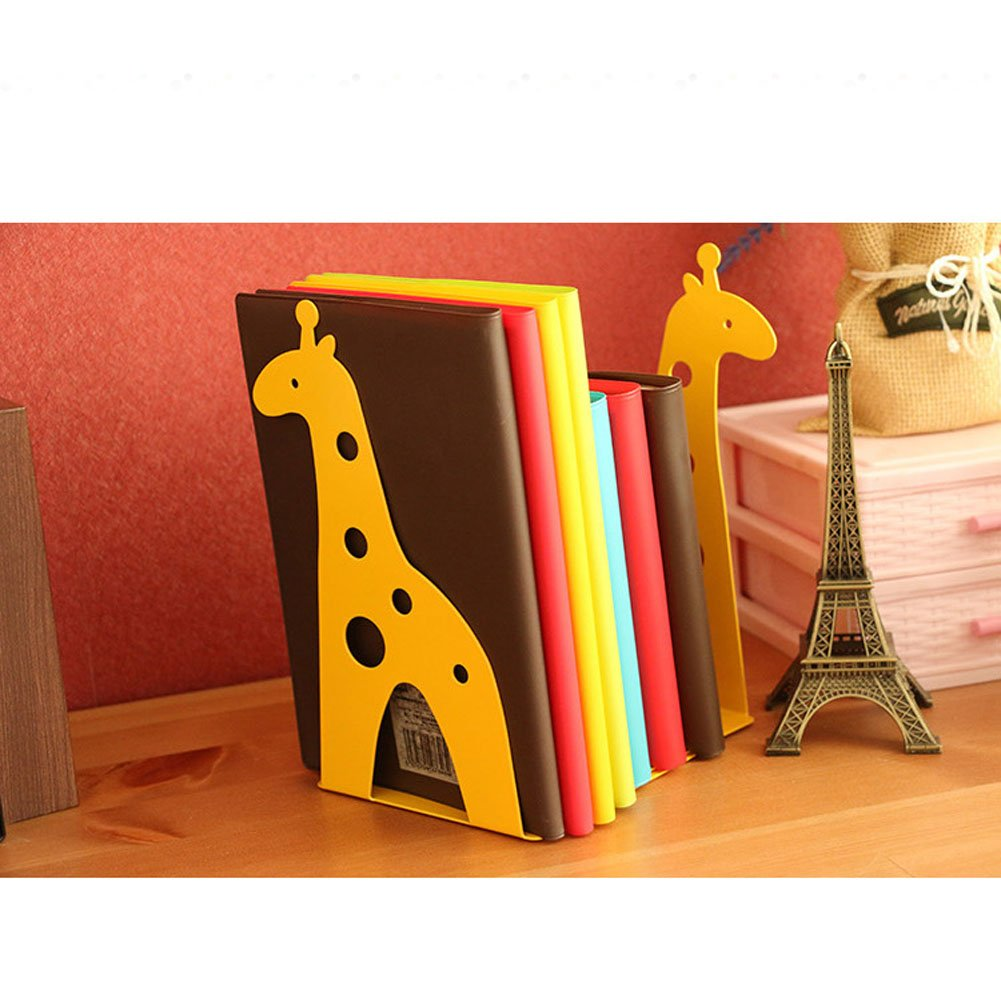 Cute Giraffe Nonskid Bookends Book Ends Organizer Bookend Art Gift,1 Pairs,Yellow by TOBSON (Image #1)