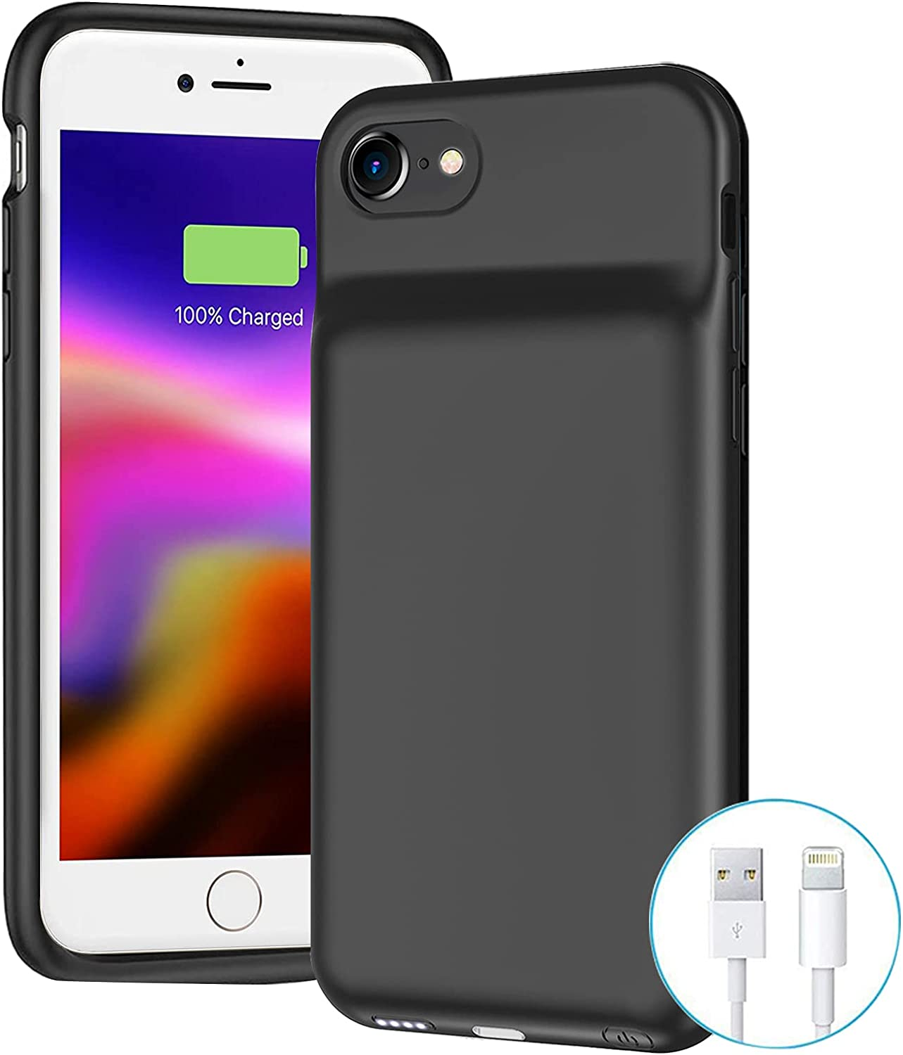 Battery Case for iPhone 8/7/6s/6/SE 2020(2nd Generation),6500mAh Portable Charger Case Rechargeable Battery Pack Charging Case Compatible with iPhone SE 2020(2nd Generation)/8/7/6s/6 (4.7 inch)-Black