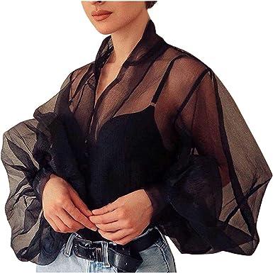Shenye Blusa de mujer transparente manga larga de burbujas, malla de gasa, blusa negra y blanca, manga Puff Negro Negro (M: Amazon.es: Ropa y accesorios
