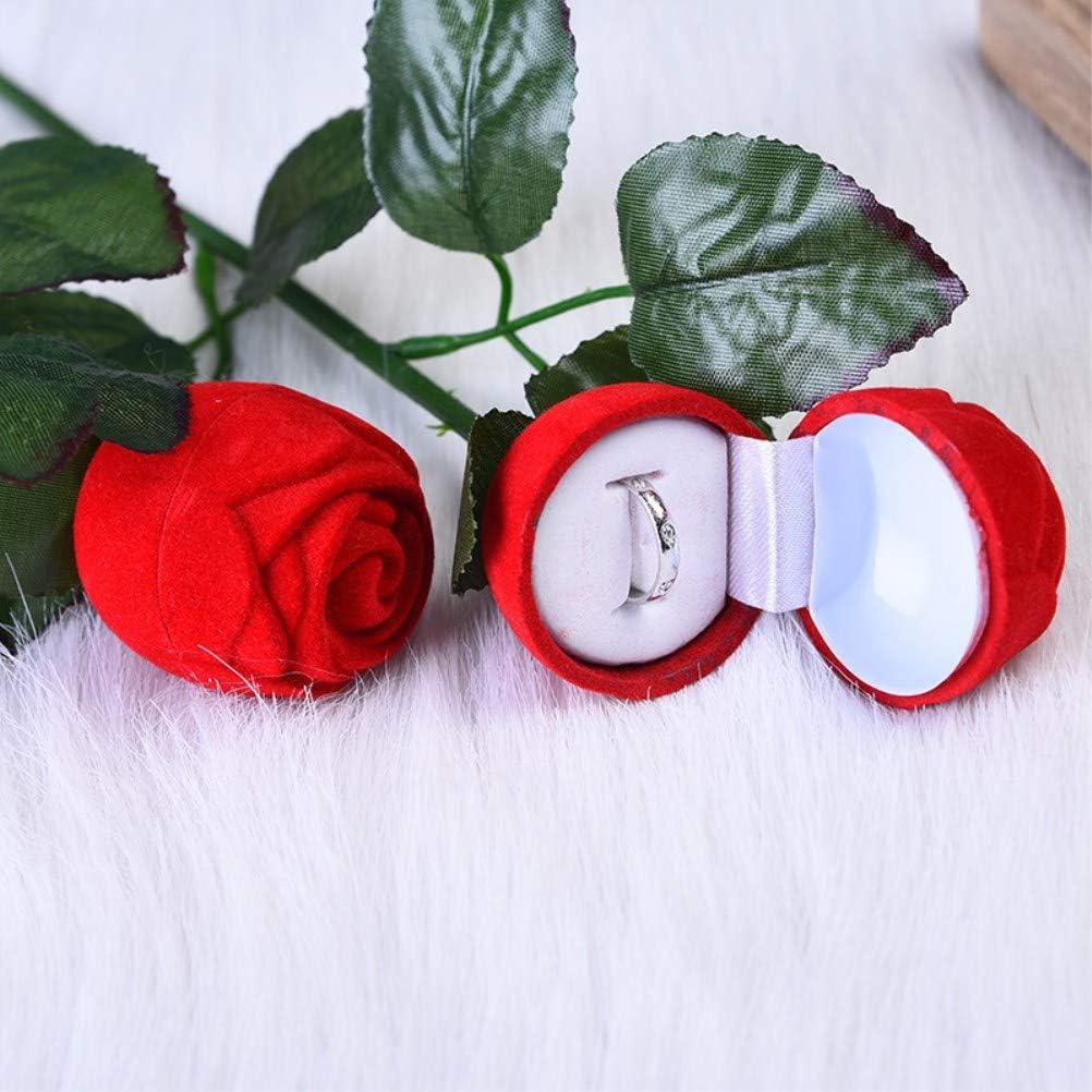 Amosfun 10pcs Anneau Romantique Bo/îte De Rangement Rouge Rose Fleur Bouquet Velours Bijoux Bague De Fian/çailles Bague Cadeau Bo/îte pour Mariage Anniversaire Saint Valentin