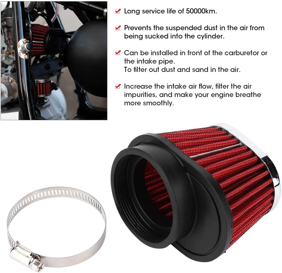51mm Akozon Filtro de aire del motor Cabeza de seta de moto Accesorio de filtro del filtro de aire del motor