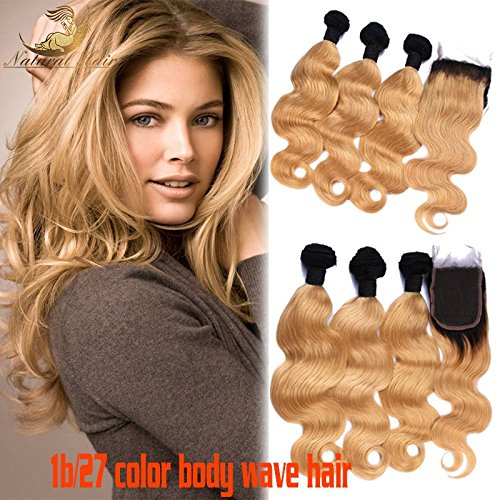 Fembots Costume (Ombre Human Weft Hair Weave 1B 27 Color Body Wave Brazilian 3Bundles With Lace Closure Blonde Hair Extensions for black women (24 26 28+22))