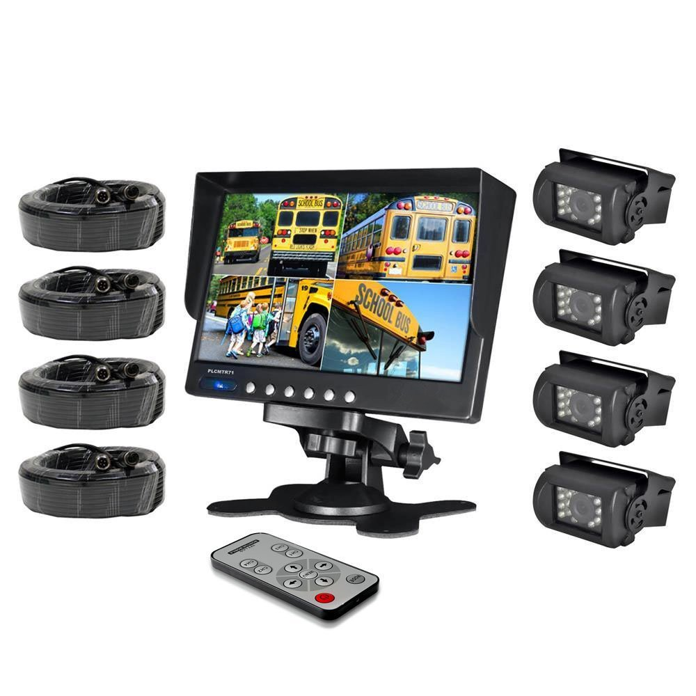 HAIN Weatherproof Rearview Backup Camera System with 7'' LCD Color Monitor, Built-in Quad Control Box Screen Function, (4) IR Night Vision Cameras, Dual DC 12/24V for Bus, Truck, Trailer, Van by Hain