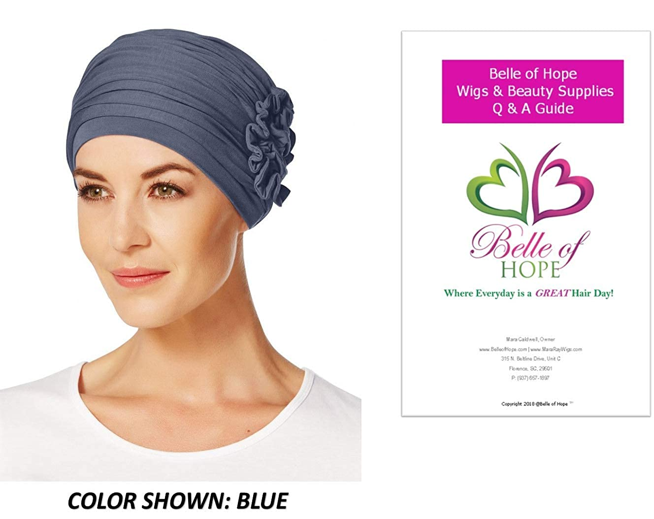 25685fa384e Amazon.com  2PC Bundle  Lotus Fitted Turban by Christine Headwear and Belle  of Hope 19 Page Q   A Guide (Black)  Clothing