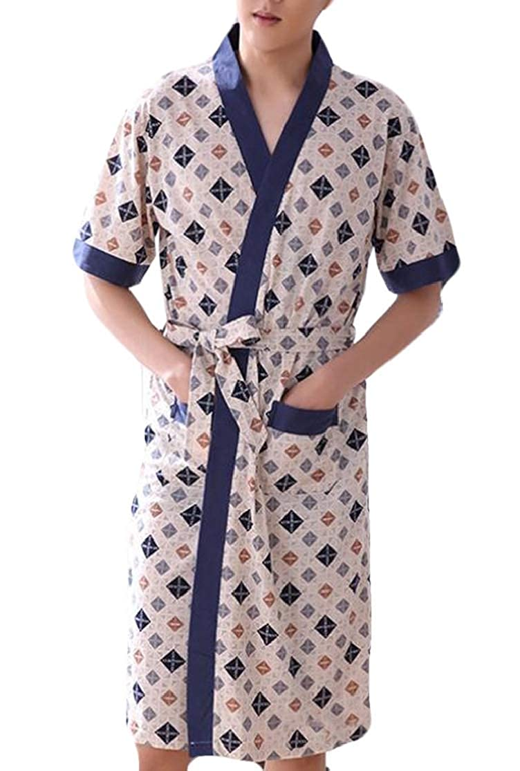 KLJR Men Big and Tall Short Sleeve Plaid Print Cotton Spa Bathrobe Loungewear Robe