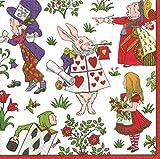 Entertaining with Caspari 13290D Alice in a Winter Wonderland, Dinner Napkin, White