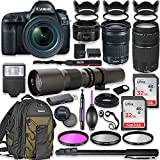 Canon EOS 5D Mark IV DSLR Camera w/ 24-105mm STM Lens Bundle + Canon EF 75-300mm III Lens, Canon 50mm f/1.8 and 500mm Preset Lens + Canon Backpack + 64GB Memory + Monopod + Professional Bundle