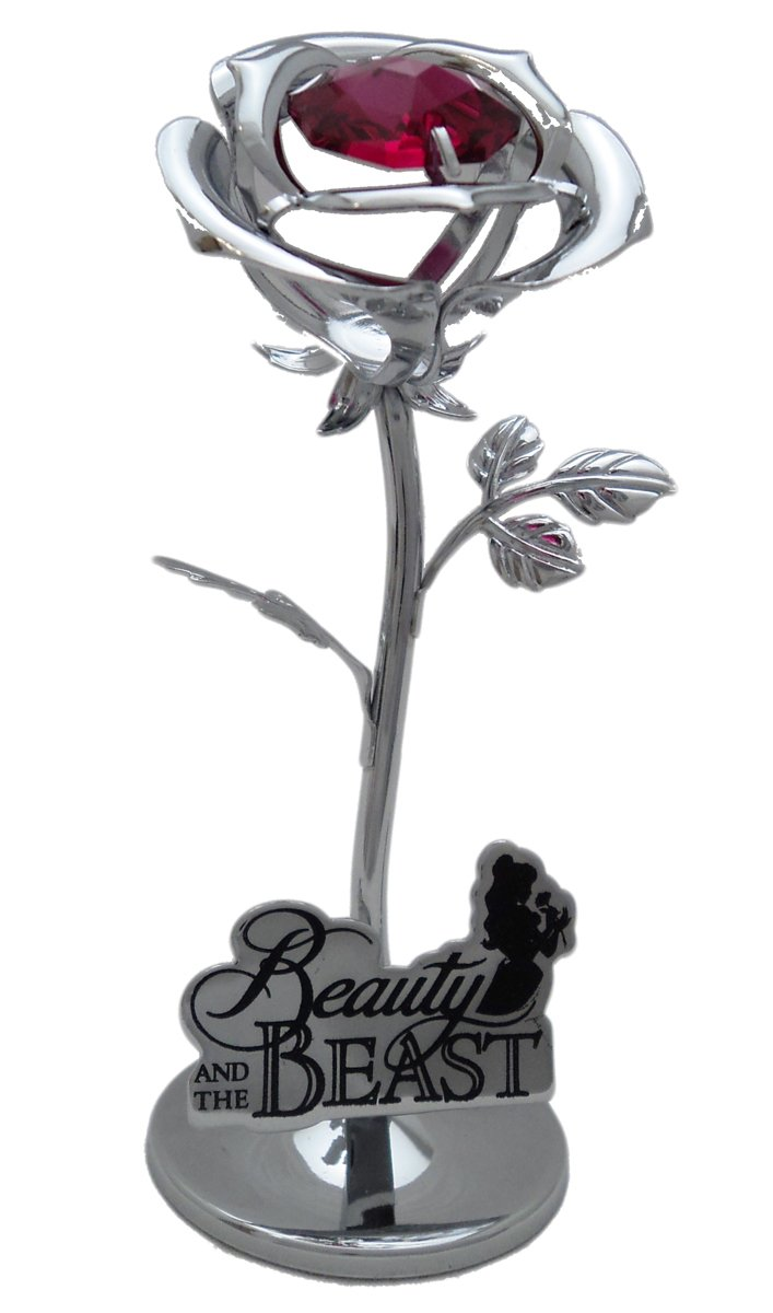 Disney Chrome Plated Small Rose Beauty And The Beast Gift Ornament Widdop