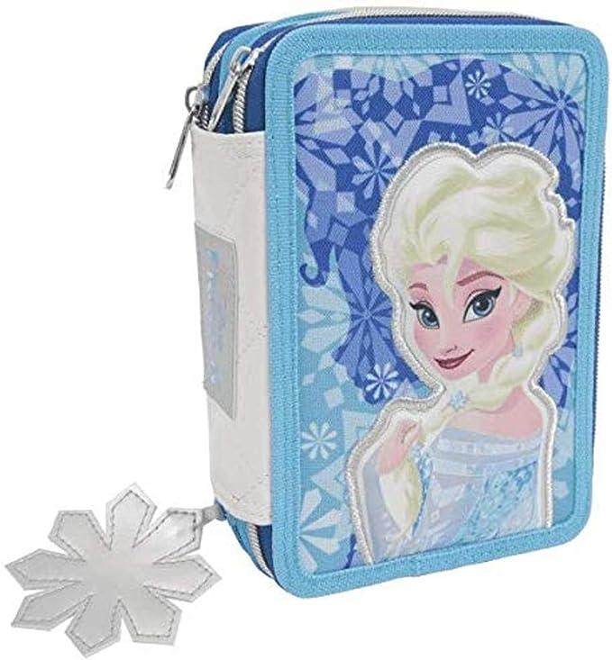 Estuche Deluxe escolar completo de 3 pisos Frozen Elsa + llavero girabrilla: Amazon.es: Oficina y papelería