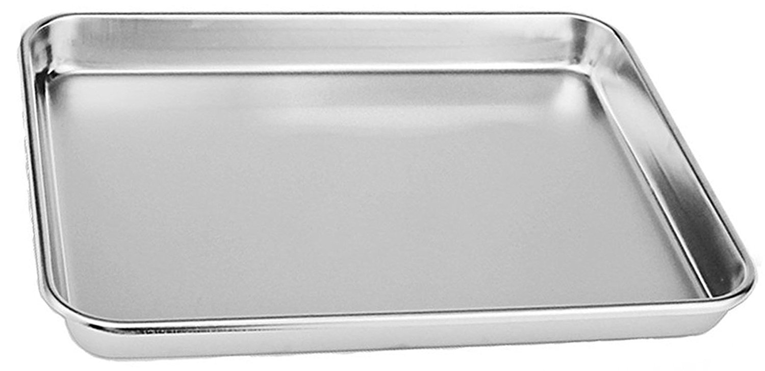 Aeehfeng Stainless Steel Toaster Oven Pan Tray Ovenware, Big Size 12'' x 10'' x 1'', Rust Resistant & Healthy, Mirror Finish & Deep Edge, Easy Clean & Dishwasher Safe Three creative