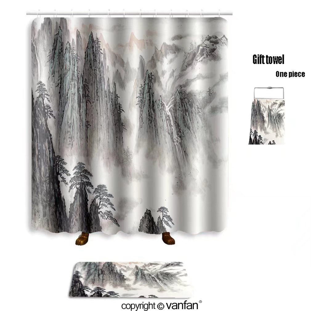 vanfan bath sets with Polyester rugs and shower curtain chinese landscape painting 220777570 shower curtains sets bathroom 60 x 78 inches&23.6 x 15.7 inches(Free 1 towel and 12 hooks)