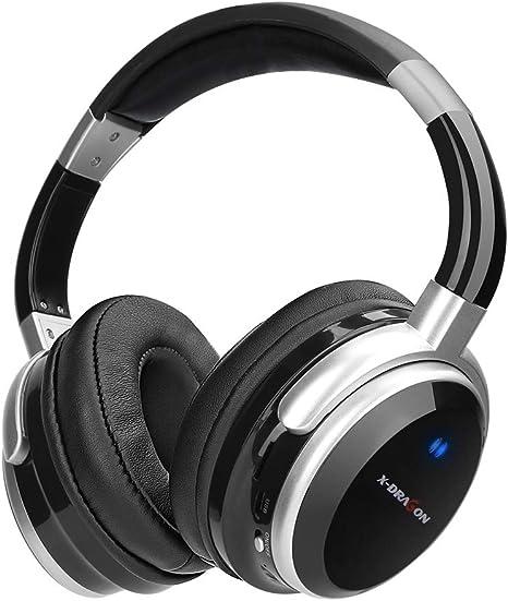 X DRAGON Auriculares Bluetooth con Cancelación Activa de Ruido Auriculares con Cable e Inalámbricos con oreja, 30 Horas de Juego para PC, Teléfonos