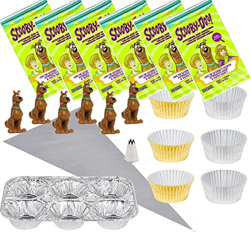 Scooby-Doo Cupcake Birthday Party Kit for 6 - Cake Topper Figures & Baking Cups, 2 Piping Bags, 2 6-Cup Baking Tins, 1 Steel Pastry Piping Tip, 6 Packs Stickers & -