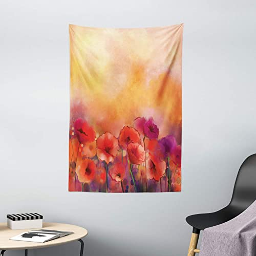 Ambesonne Watercolor Flower Tapestry, Autumn Season Poppy Flowers at Sunset in Warm Colors Print, Wall Hanging for Bedroom Living Room Dorm Decor, 40 X 60 , Scarlet Orange Purple